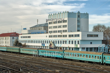 Railway Station Of Aktobe. Kazakhstan. View From Above Stock Photo