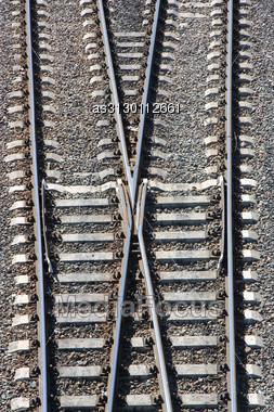 Railway Tracks And Switch Stock Photo