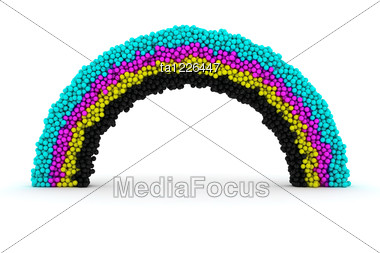 Rainbow Made From Many Balls Of CMYK Colors Stock Photo