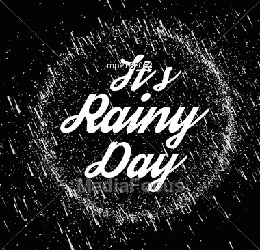 Rainy Sky Vector Illustration On A Black Background. Place On Top Of Your Image In The Screen Mode Stock Photo