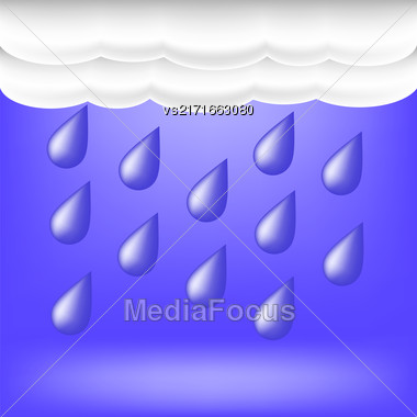 Rainy Weather. Raindrops Falling On The Ground.Autumn Clouds Stock Photo