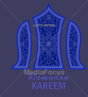 Ramadan Greeting Card On Blue Background. Ramadan Kareem Holiday Stock Photo