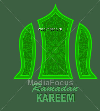 Ramadan Greeting Card On Green Background. Ramadan Kareem Holiday Stock Photo