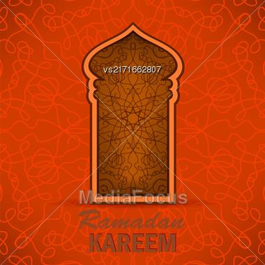 Ramadan Greeting Card On Ornamental Background. Ramadan Kareem Holiday Stock Photo
