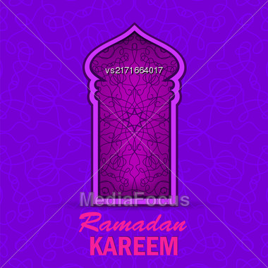 Ramadan Greeting Card On Ornamental Background. Ramadan Kareem Holiday Stock Photo