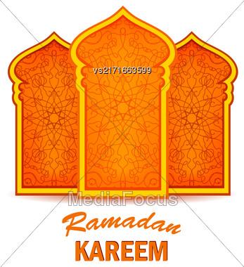 Ramadan Greeting Card On White Background. Ramadan Kareem Holiday Stock Photo