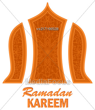 Ramadan Greeting Card On White Background. Ramadan Kareem Holiday Stock Photo