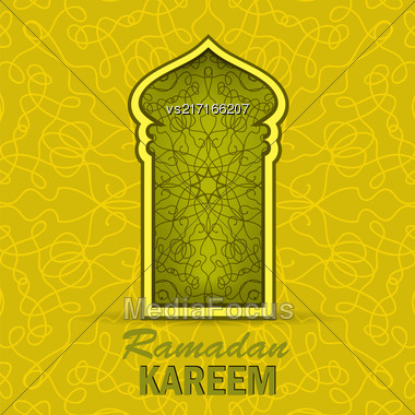 Ramadan Greeting Card On Yellow Ornamental Background. Ramadan Kareem Holiday Stock Photo