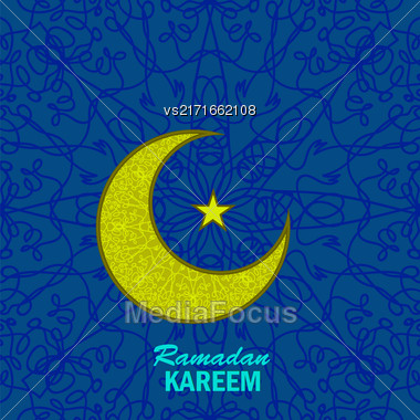 Ramadan Greetings Background. Ramadan Kareem Means Ramadan The Generous Month. Ramadan Greeting Card. Yellow Moon And Yellow Star On Blue Ornamental Background Stock Photo