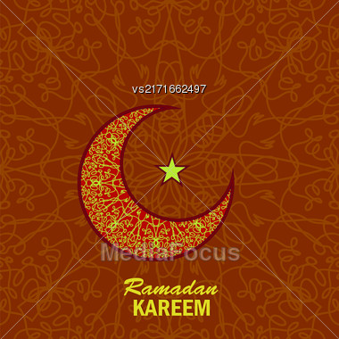 Ramadan Greetings Background. Ramadan Kareem Means Ramadan The Generous Month. Ramadan Greeting Card. Yellow Moon And Yellow Star On Red Ornamental Background Stock Photo