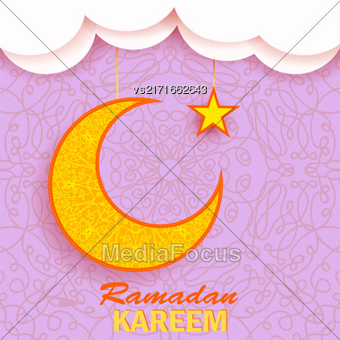 Ramadan Greetings Background. Ramadan Kareem Means Ramadan The Generous Month. Ramadan Greeting Card. Yellow Moon And Yellow Star On Pink Ornamental Background Stock Photo