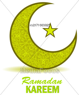 Ramadan Greetings Background. Ramadan Kareem Means Ramadan The Generous Month. Ramadan Greeting Card. Yellow Moon And Yellow Star On White Background Stock Photo