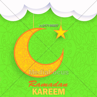 Ramadan Greetings Background. Ramadan Kareem Means Ramadan The Generous Month. Ramadan Greeting Card. Yellow Moon And Yellow Star On Green Ornamental Background Stock Photo