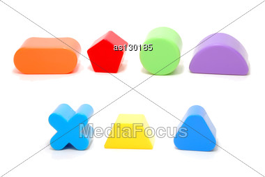 Random Plastic Geometric Figures Children Toys Isolated On White Stock Photo