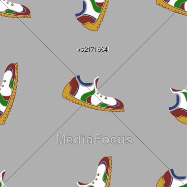 Ranning Shoes Seamless Pattern On Grey Background Stock Photo