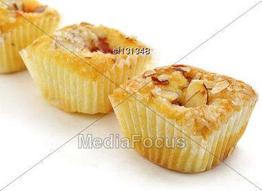 Raspberry Cupcakes With Almonds , Close Up Stock Photo