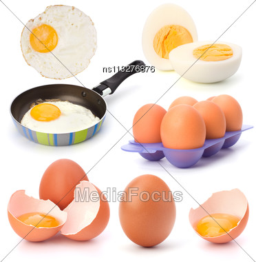 Raw, Boiled And Fried Eggs Isolated On White Background Cutout Stock Photo