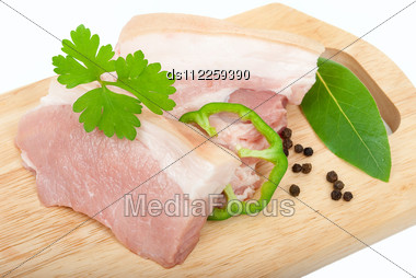 Raw Pork Sliced Stock Photo