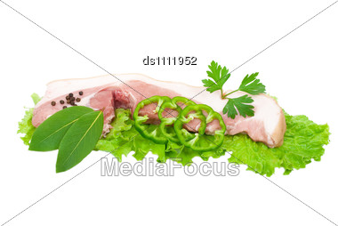 Raw Pork With Green Vegetable Stock Photo