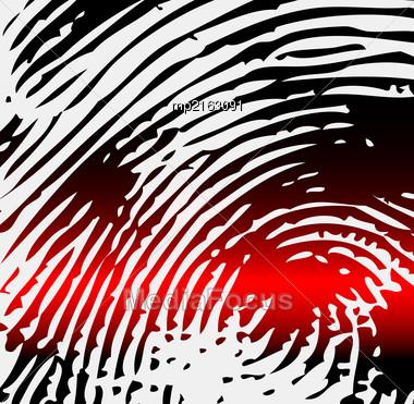 Ray Scanner Scan Fingerprint. Vector Illustration Close-up Stock Photo