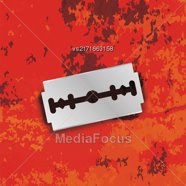 Razor Blade Icon On Grunge Red Background Stock Photo