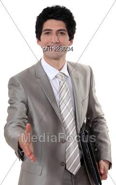Reaching Out Polite Executive Stock Photo