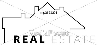 Real Estate Vector Logo With Silhouette House And The Roof Stock Photo