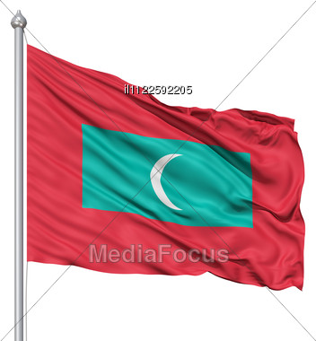 Realistic 3d Flag Of Maldives Fluttering In The Wind. Stock Photo