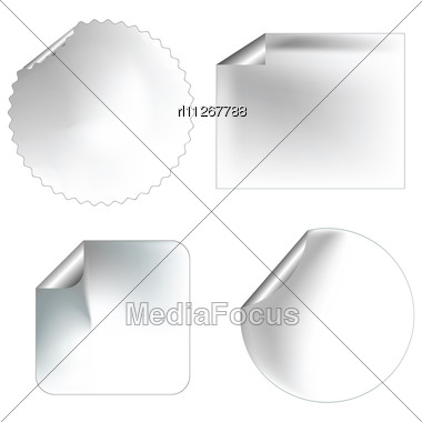 Realistic Blanc Stickers/labels With Pealed Corners For Commercial Use Stock Photo