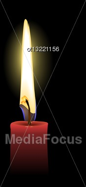 Realistic Illustration The Red Candle Isolated Of Black Background - Vector Stock Photo