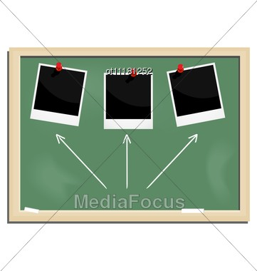 Realistic Illustration School Blackboard With Marked Photo Frame Stock Photo