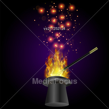 Realistic Magic Wand With Fire Flame And Starry Lights On Dark Background Stock Photo