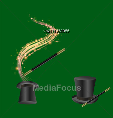 Realistic Magic Wand And Hat With Starry Lights On Green Background Stock Photo