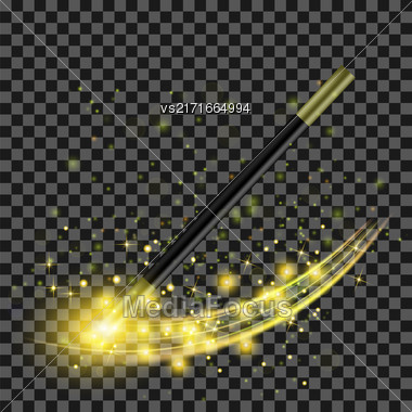 Realistic Magic Wand With Starry Lights On Checkered Background Stock Photo