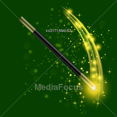 Realistic Magic Wand With Starry Lights On Green Background Stock Photo