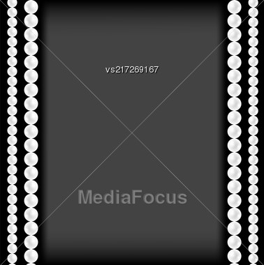 Realistic Natural White Pearl Frame On Grey Gradient Background Stock Photo