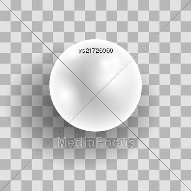 Realistic Natural White Pearl Isolated On Grey Checkered Background Stock Photo
