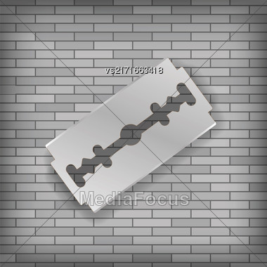 Realistic Razor Blade Icon On Gray Brick Background Stock Photo