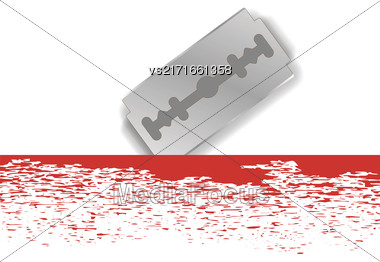 Realistic Razor Blade Icon On White Background Stock Photo