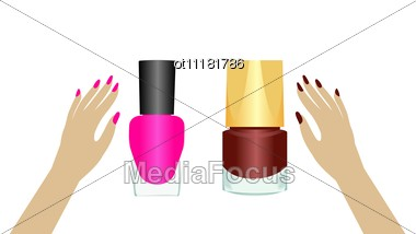 Realistic Two Nail Polishes Stock Photo