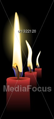 Realistic Vector Christmas Candles Stock Photo