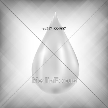 Realistic Water Drop Icon On Grey Blurred Background Stock Photo