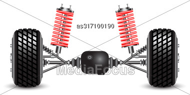 Rear Suspension Of The Car Springs And Differential Stock Photo