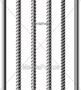 Rebars, Reinforcement Steel Isolated On White Background. Construction Metal Armature Stock Photo