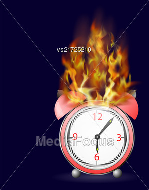 Red Alarm Clock Icon On Fire Flame Isolated On Dark Background Stock Photo