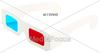 Red-and-blue Disposable Glasses For View 3D Films And Images. Isolated On White Background. Close-up. Studio Photography Stock Photo