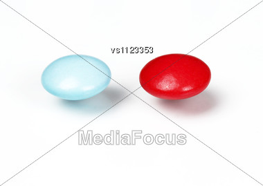 Red And Blue Pills. Choice Concept Stock Photo