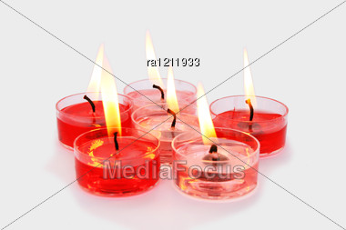 Red And Pink Candles Stock Photo