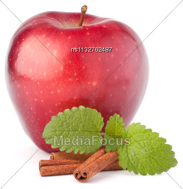 Red Apple, Cinnamon Sticks And Mint Leaves Still Life Isolated On White Cutout Stock Photo