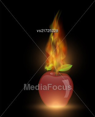 Red Apple With Fire Flame Isolated On Dark Background Stock Photo